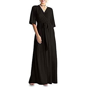 Flowy Long Maxi Wrap Dresses for Women with Tie Belt Plus Size and Reg. – Made in USA