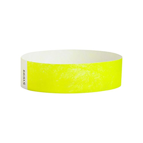 WristCo Neon Yellow 3/4 Inch Premium Black Light Security 500 Count Paper Wristbands for -