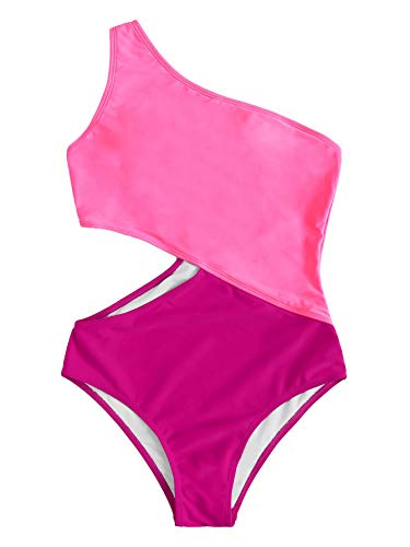 SweatyRocks Women's Bathing Suits One Shoulder Cutout One Piece Swimsuit Swimwear Monokini Pink Medium ()