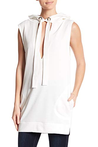 OOBERSWANK Hoodie Flame Keyhole Cut Out Dress for Women in White, Medium