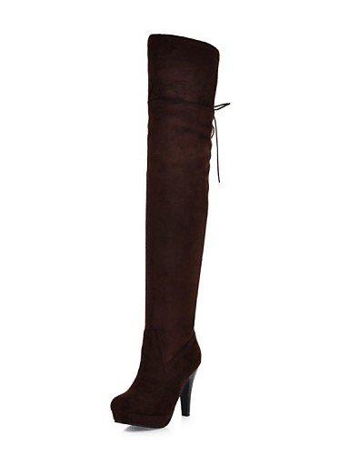 Mujer Oficina Vestido Tacón Botas De Ante Stiletto Redonda Eu39 negro Cerrada Brown Sintético Xzz Punta Trabajo Casual us8 Y Cn39 Uk6 Zapatos xwq7CpzF