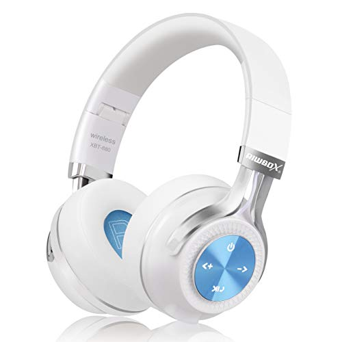 Bluetooth Headphones, Riwbox XBT-880 Wireless Bluetooth Headphones Over Ear with Microphone and Volume Control Wireless and Wired Foldable Headset for iPhone/iPad/PC/Cell Phones/TV (White&Blue)