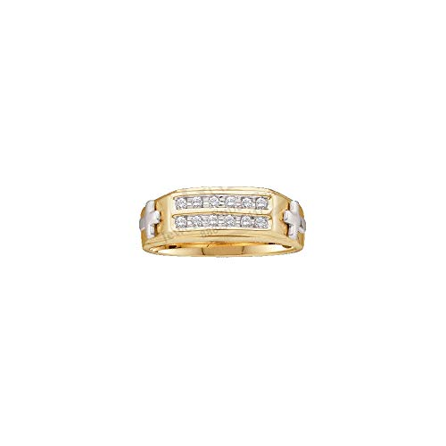 FB Jewels 10kt Two-tone Yellow Gold Mens Round Diamond Cross Wedding Band Ring 1/6 Cttw (I3 clarity; J-K color) (10kt Two Tone Diamond Ring)
