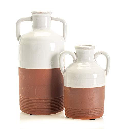 Set of 2 Assorted Sullivans White & Red Clay Decorative Jugs