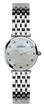 Michel Herbelin Women's Gold Plated Bracelet & Case Sapphire Crystal Quartz MOP Dial Watch 1045/BP59