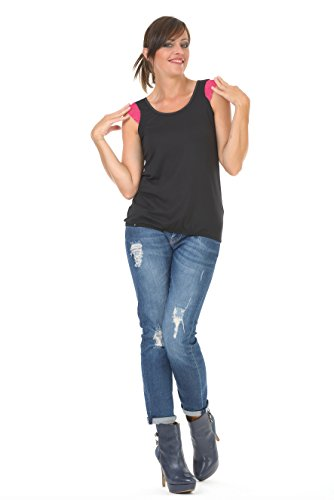 Redondo Black Gothic Camiseta Mujer Encaje Cuello Pink 3elfen Summer Top qSXw8Sg