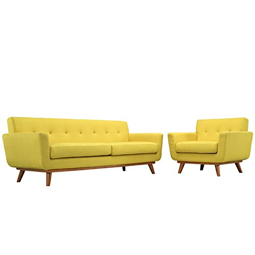 Modway Engage Mid-Century Modern Upholstered Sofa and Armchair Set in Sunny