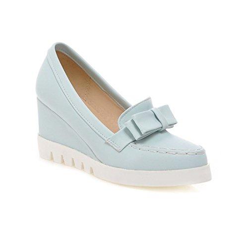 Sandalette-DEDE Damas Zapatos, Zapatos de Mujer con Cabeza Redonda Solo Zapatos, Zapatos de Mujer, College Wind Arcos y Tacones Altos. blue