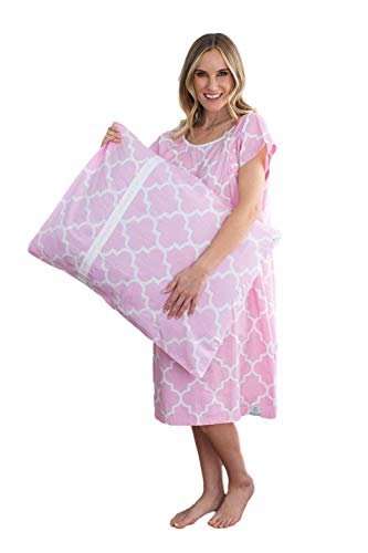 Gownies - Delivery Maternity Hospital Gown Set Labor Kit with Pillowcase, Hospital Bag Must Have, Best (XXL pre Pregnancy 16-22, Emily)