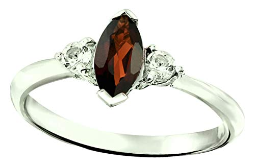 RB Gems Sterling Silver 925 Ring Genuine Gemstone Marquise 8X4 mm, 0.91 Cts, Rhodium-Plated Finish (7, Garnet)