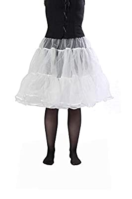 "BellaSous Tea Length 25"" Women Petticoat Nylon Yoke Underskirt Vintage Dresses, Poodle Skirts Rockabilly"