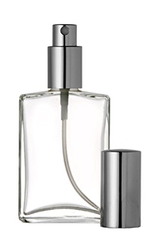 Large Perfume - Riverrun Large Perfume Atomizer, Empty Refillable Glass Bottle, Silver Sprayer 3.4 oz 100ml (1 Bottle)