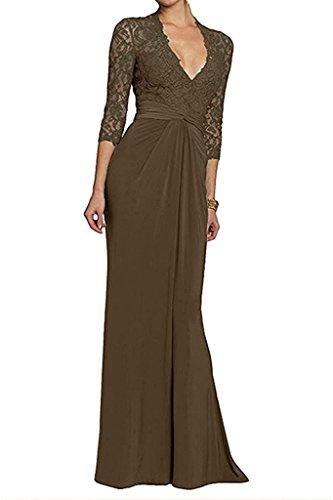 Marie Promkleider Braut Damen V Ausschnitt Partykleider Langes Etuikleider Brautmutterkleider La Abendkleider Braun Tq8ZdT