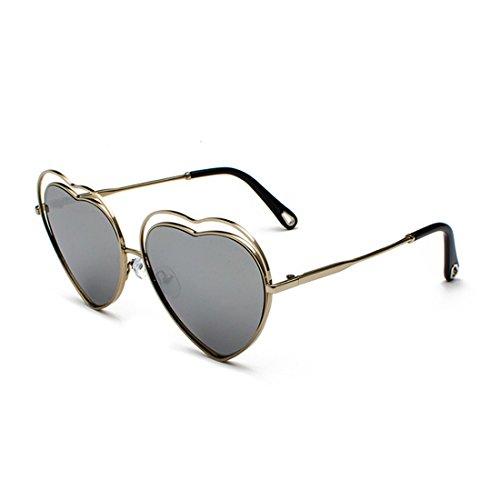metal de de Lens women Sunglasses Marco Heart marco Men Templos Mercurio de Colored de Película Plateado eyewear Aiweijia Gradient FIvCqw0nHv