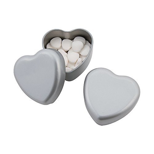 (Silver Heart-Shaped Tins with Mints)