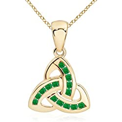 May Birthstone - Dangling Channel Set Emerald Celtic Knot Pendant Necklace for Women (1.5mm Emerald)