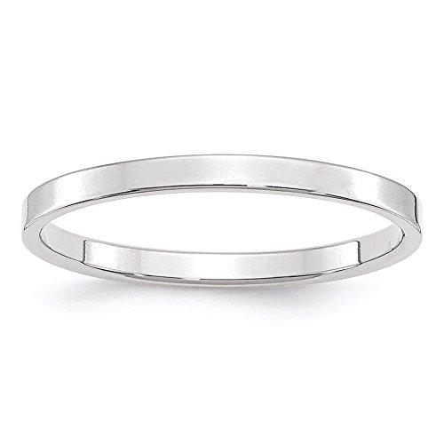 14k White Gold Flat Band - Lex & Lu 14k White Gold 2mm LTW Flat Band Ring