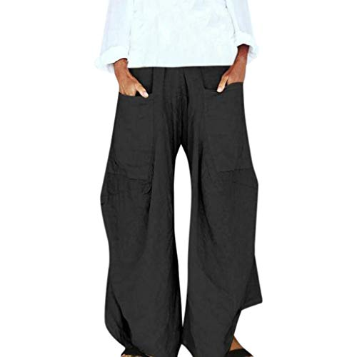 July 4th Casual Yoga Pants for Women,WANQUIY Plus Size Solid Loose Wide Leg Pants Trousers Black