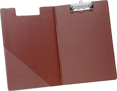 5 Star Fold-over Clipboard with Front Pocket Foolscap Red