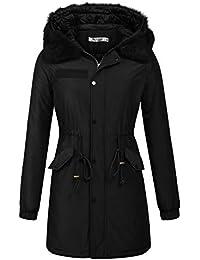 Women's Military Hooded Warm Winter Parkas Faux Fur Lined Jacket Coats