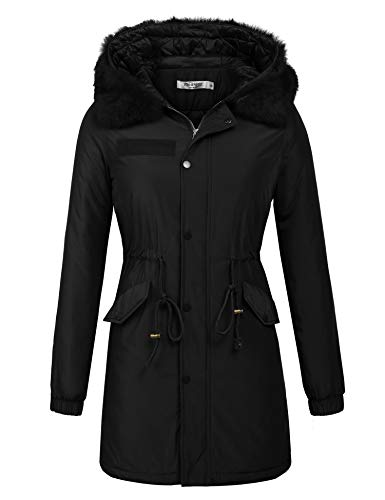 ELESOL Women's Militray Anorak Parka Hoodie Jackets with Drawstring Black, L by ELESOL