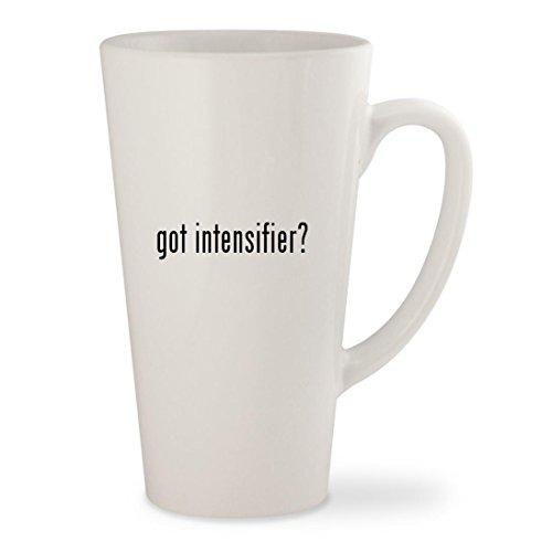 got intensifier? - White 17oz Ceramic Latte Mug (Swedish Intensifier)