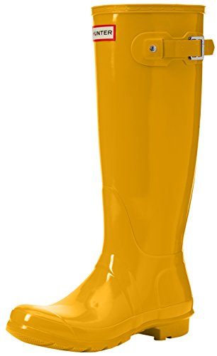 Hunter Womens Original Tall Gloss Rain Boot Shoes Yellow 6