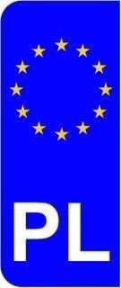 Polonia Pl UE Euro Bandera matrícula del coche Domed adhesivo (2 ...