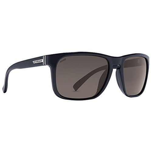 VonZipper Mens Lomax Sunglasses, Black Gloss w/Vintage Grey Wildlife Polarized Lens One Size