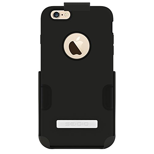 Seidio DILEX Case with Metal Kickstand and Holster Combo for Apple iPhone 6 Plus- Retail Packaging - Black by Seidio (Image #1)