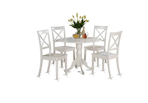 This Pedestal Table Dining Set Includes 4 White Chairs and 1 Round Drop Leaf Table. A Elegant 5 Piece Wood Dinette Set Perfect For Any Breakfast Nook in a Small Dining Room, Kitchen, Apartment or Dorm