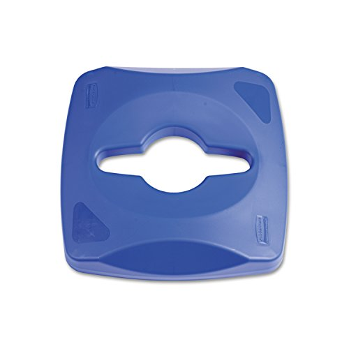 Rubbermaid Commercial 1788374 Untouchable Waste and Recycling Container, 23-gallon Single-Stream Recycling Lid, Blue