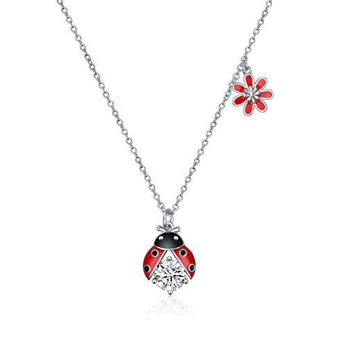 Sterling Silver Ladybug Pendant - Sterling Silver Ladybug Flower Pendant Cute Necklace Cubic Zirconia Jewelry Gifts for Girls Kid Women