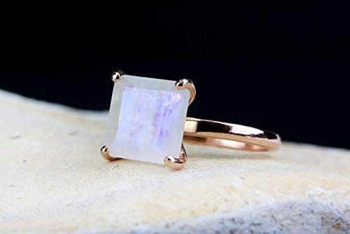 Moonstone Rose Ring - Anemone Unique 14K Rose Gold Ring - Elegant 3.87CT Moonstone Solitaire Ring for Sweet-Sixteen, Birthdays, Anniversaries, and Engagement Proposals - Handmade Jewelry