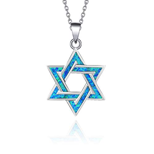- Opalmaster 925 Sterling Silver Blue Created Opal Star of David Necklace Long Chain Charm Geometric Pendant Jewelry for Women Girls