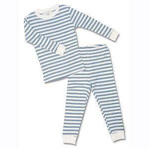 Under the Nile Organic Long John PJs in Blue - Nile Pajamas Under The