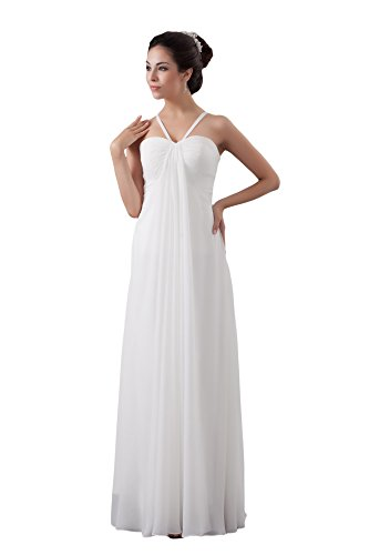 Vogue007 Womens Sleeveless Spaghetti Strap Charmeuse Pongee Chiffon Formal Dress, White, 16 by Unknown