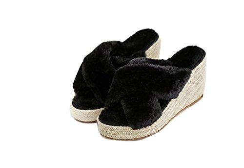 Hauts Mode Slippers Femmes Open Extérieur 34 Pantoufles Noir Chaud Sexy Black Confort Gris Printemps Talons DANDANJIE Chaussures Beige Toe 39 zIFqq