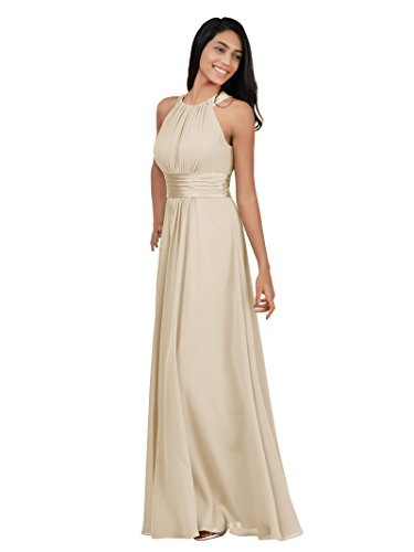Alicepub Chiffon Bridesmaid Dresses Long for Women Formal Evening Party Prom Gown Halter, Champagne, US14