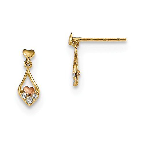 low Gold Madi K Fancy CZ Dangle and Rose Rhodium-plated Heart Post Earrings ()