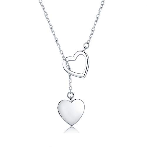 Kalapure 925 Sterling Silver Double Heart Pendant Long Tassel Y Necklace Clavicle - Open Double Necklace Heart