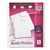 Binder Pockets, 8-1/2 x 11, Clear, 5 Pockets/Pack, Total 12 PK