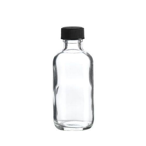 Premium Vials B26-12 Boston Round Glass Bottle with Cap, 2 oz Capacity, Clear (Pack of 12) ()