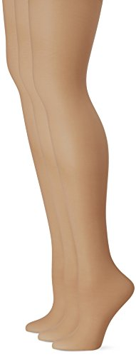 L'eggs Women's Energy 3 Pack Control Top Sheer Toe Panty Hose, Suntan size A