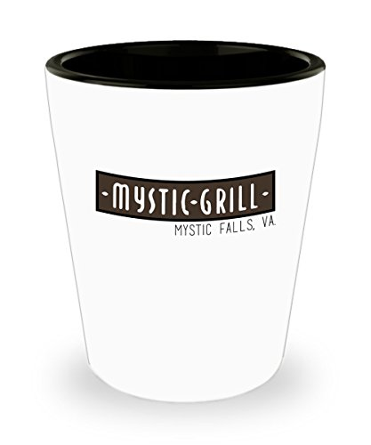 Mystic Grill Mystic Falls Va. The Vampire Diaries Shot Glass Mug Cup - 1.5oz The Vampire Diaries Tv Show Restaurant Gift Merchandise Accessories Shirt by Trinkets and Novelty