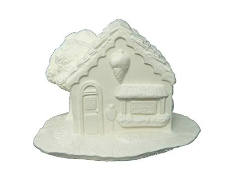 (Christmas Village Ice Cream Shop ~ Unpainted Ceramic Bisque ~ Hand Poured in The USA)