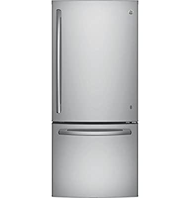 """GE GDE21ESKSS 30"""" Energy Star Qualified Bottom-Freezer Refrigerator with 20.9 Cu. Ft. Capacity, Stainless Steel"""
