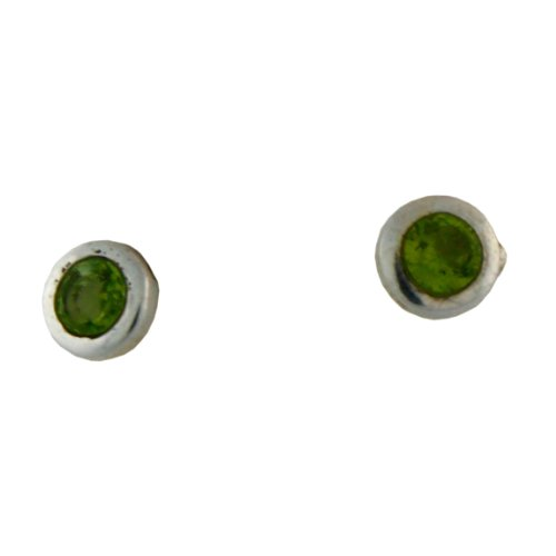 Sterling Silver 6mm Round Peridot Baby Post Earing