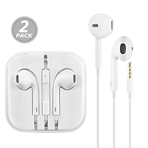 (2 Pack) Aux Headphones/Earphones/Earbuds, 3.5mm aux Wired Headphones Noise Isolating Earphones Built-in Microphone & Volume Control Compatible iPhone iPod iPad Samsung/Android / MP3 MP4