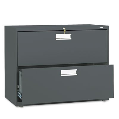 HON 2-Drawer Filing Cabinet - 600 Series Lateral Legal or Letter File Cabinet, Charcoal (H682) Double Lateral File Cabinet